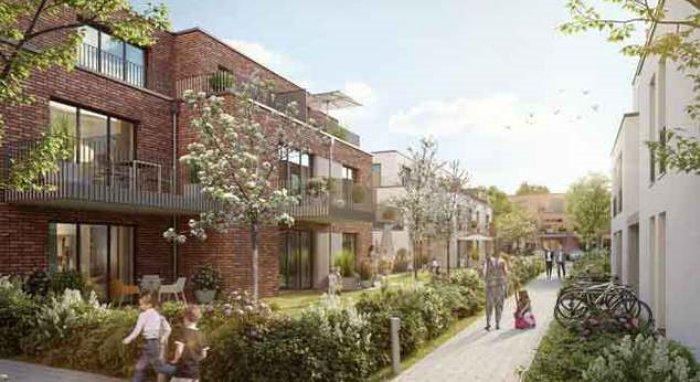 Der von Magna in Buchholz entwickelte neue Wohnkomplex mit 137 Wohneinheiten in der Visualisierung. (Bild: Magna Real Estate AG)